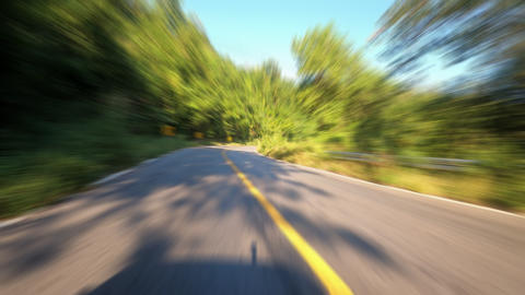 Time-lapse journey on the countryside road fast movement speed in the rural place with wood and Live Action