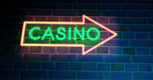 Neon Casino sign with glowing text in Las Vegas or Nevada - 4k Animation