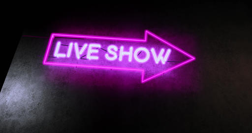 Live show sign in neon text above nightclub shows event - 4k Animation