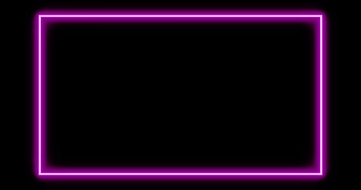 Mauve neon border using abstract glowing light makes frame - 4k Animation