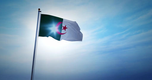 Algerian flag waving a national symbol for travel or tourism in Algeria - 4k Animation