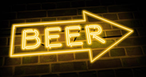 Neon beer sign shows Direction bar or pub - 4k Animation