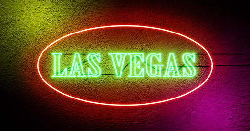 Las Vegas neon sign outside casino for gambling and tourism in America - 4k Animation