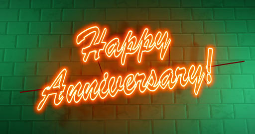 Happy Anniversary text or neon sign celebration and surprise event - 4k Animation