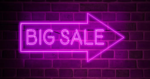 Big sale sign shows discount offer or promotion for products - 4k Animation