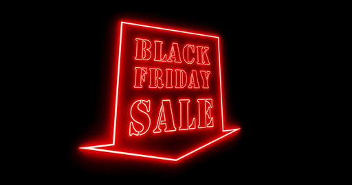 Black Friday sales sign is neon advertisement for a discount and saving - 4k Animation