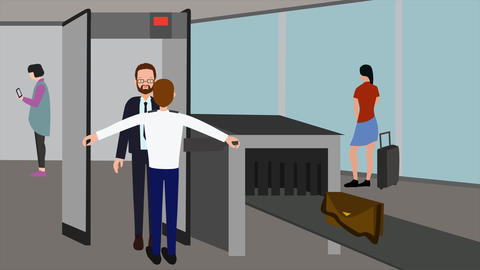 2D animation, bearded Caucasian man in airport control. Aviation safety Live Action