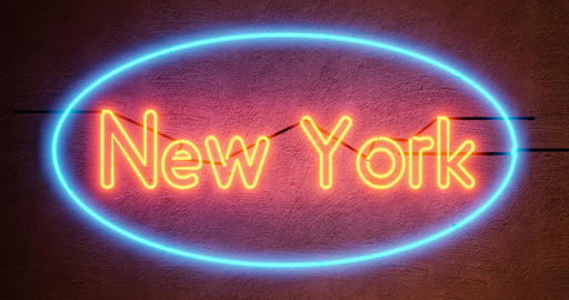New York neon sign depicts Manhattan in NYC America - 4k Animation