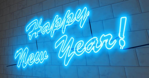 Happy New Year sign in neon to celebrate a festive event occasion - 4k Animation