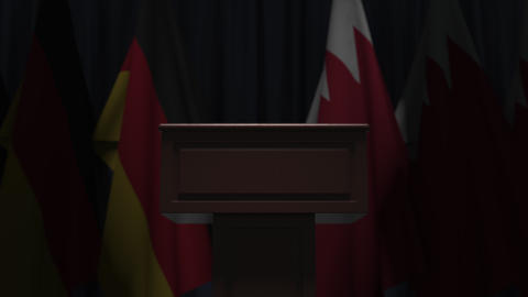 Row of flags of Bahrain and Germany and and speaker tribune, conceptual 3D GIF