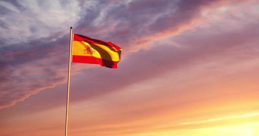 Spanish flag waving representing the Kingdom of Spain and capital Madrid - 4k Animation