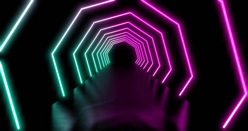 Blue and mauve neon abstract tunnel showing futuristic technology - 4k Animation
