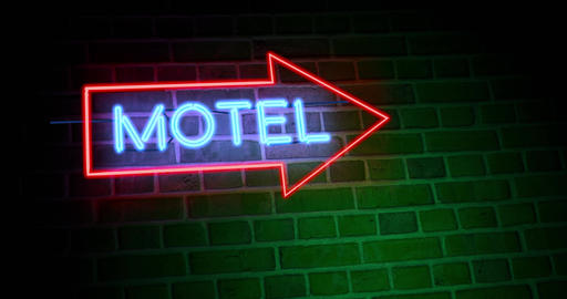 Neon motel sign means motor Lodge available for accommodation - 4k Animation