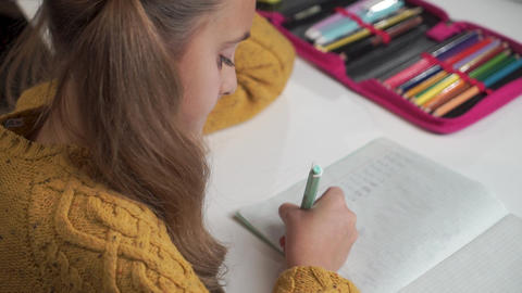 Close-up of pretty Caucasian girl with ponytails studying math. Cute schoolchild Live-Action
