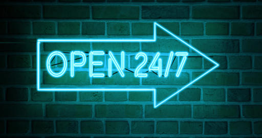 Open 24 7 neon signs shows business open and support available - 4k Animation