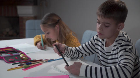 Two Caucasian children sitting at the table at school. Diligent girl with two Live Action