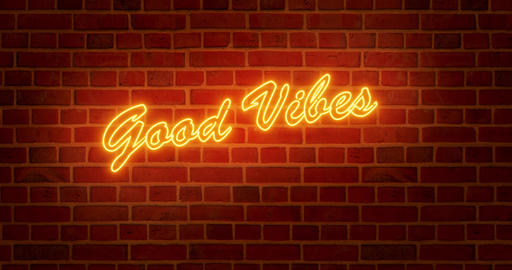 Good vibes neon sign means positive and happy lifestyle - 4k Animation