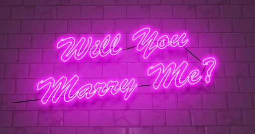 Will you marry me neon sign as proposal for engagement to girlfriend - 4k Animation