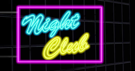 Nightclub neon sign outside disco or nightlife entrance - 4k Animation
