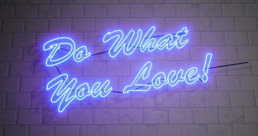 Do what you love neon sign as motivation for positive inspiration - 4k Animation