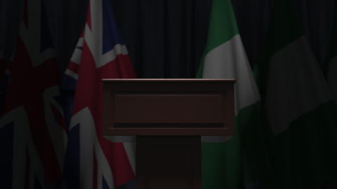 Flags of Nigeria and the United Kingdom and tribune, 3D animation Live Action
