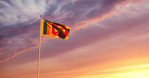 Sri Lankan flag waving shows the Democratic socialist Republic of Sri Lanka - 4k Animation