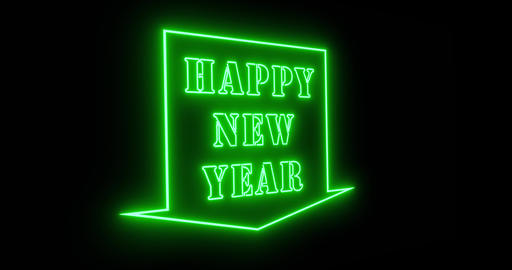 Happy New Year sign in neon to celebrate a festive party occasion - 4k Animation