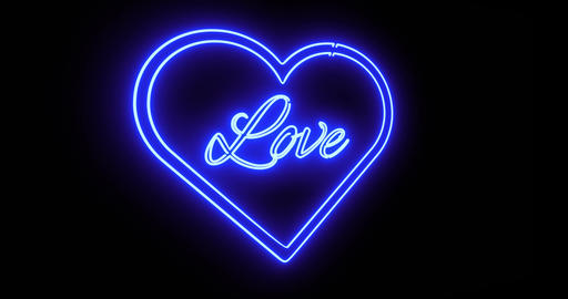Neon love sign as illuminated advertising for nightclub, massage or sex show - 4k Animation