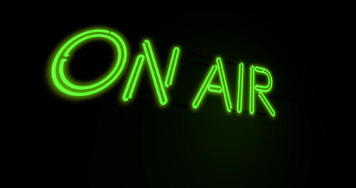 On air neon sign means broadcasting television or radio - 4k Animation
