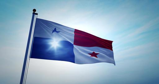 Panamanian flag waving depicts the national symbol of Panama - 4k Animation