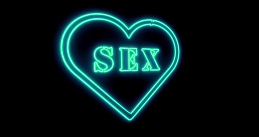 Neon sex sign as illuminated advertising for nightclub or massage - 4k Animation