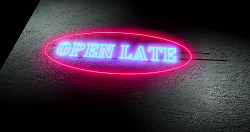 Open late sign means 24-hour service always open around the clock - 4k Animation