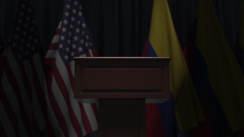 Flags of Colombia and the USA and tribune, 3D animation GIF