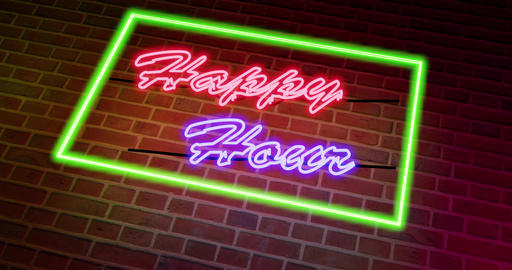 Happy Hour neon sign outside a pub or bar for drinking - 4k Animation