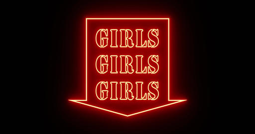 Neon girls sign as illuminated advertising for nightclub or massage - 4k Animation