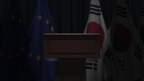 Many flags of South Korea and the European Union EU, 3D animation Live Action