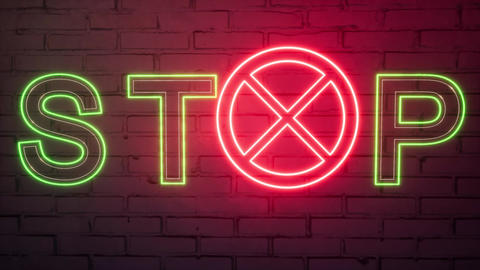 Neon Stop Sign Violence on a brick wall background Live Action