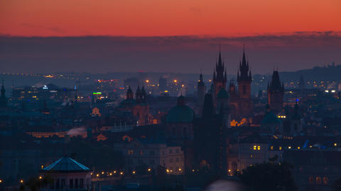 Rooftops of Prague and the Morning. Time Lapse UHD Footage