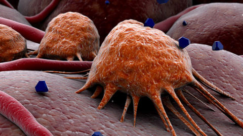 Chemotherapy drug attacking and killing cancer virus, Stock Animation