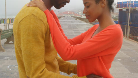 Side view of young black couple head to head and embracing each other on promenade at beach 4k Live Action