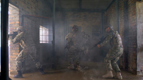 Military soldiers conducts rescue operation during training at military base 4k Live Action