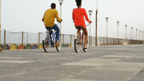 Rear view of black young couple riding bicycle on promenade at beach on a sunny day 4k Live Action