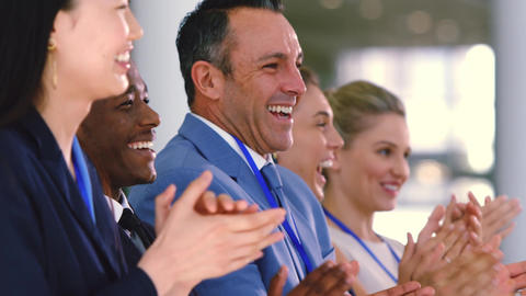 Business people applauding in a business seminar 4k Live Action