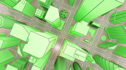 Green skyscrapers growing on city squares Animation