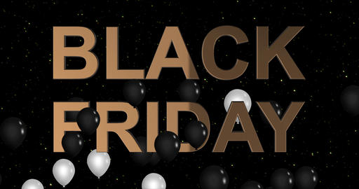 Black Friday advertisement with golden sign and black balloons, background 4k Animation