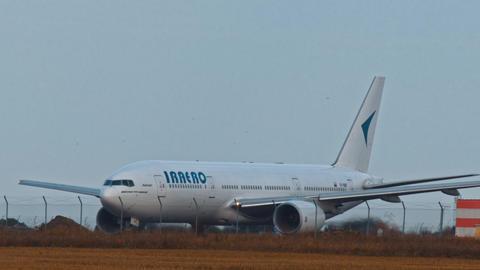 Big jet plane taking off runway Live Action