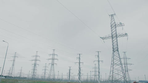 Concept Energy Systems View of The Power Lines from a Car Window Live Action