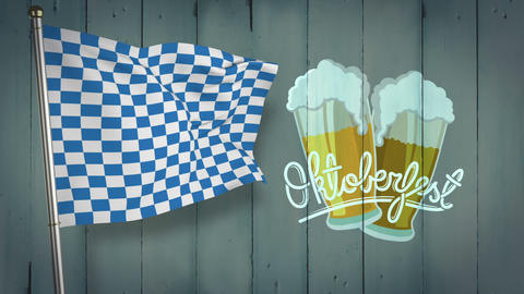 Digitally generated of oktoberfest flag waving Live Action