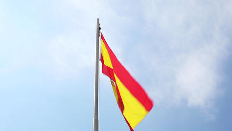 National flag of Spain on a flagpole Footage