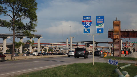 Construction work on Highway 35E near the Sam Rayburn Tollway Footage